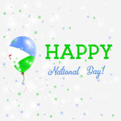 Djibouti National Day patriotic poster Flying Rubber Balloon in Colors of the Djibouti Flag Djibouti National Day background with Balloon Confetti Stars Bokeh and Sparkles