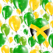 Jamaica Independence Day Seamless Pattern Flying Rubber Balloons in Colors of the Jamaican Flag
