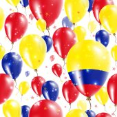 Colombia Independence Day Seamless Pattern Flying Rubber Balloons in Colors of the Colombian Flag Happy Colombia Day Patriotic Card with Balloons Stars and Sparkles