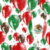 Mexico Independence Day Seamless Pattern Flying Rubber Balloons in Colors of the Mexican Flag