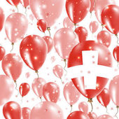 Switzerland Independence Day Seamless Pattern Flying Rubber Balloons in Colors of the Swiss Flag