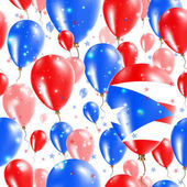 Puerto Rico Independence Day Seamless Pattern Flying Rubber Balloons in Colors of the Puerto Rican