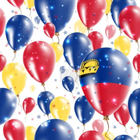Liechtenstein Independence Day Seamless Pattern Flying Rubber Balloons in Colors of the