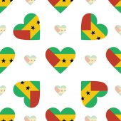 Sao Tome and Principe flag patriotic seamless pattern National flag in the shape of heart Vector