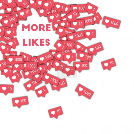 More likes Social media icons in abstract shape background with pink counter More likes concept in