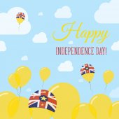 Niue Independence Day Flat Patriotic Design Niuean Flag Balloons Happy National Day Vector Card