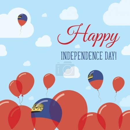 Liechtenstein Independence Day Flat Patriotic Design Liechtensteiner Flag Balloons Happy National