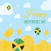 Jamaica Independence Day Flat Patriotic Design Jamaican Flag Balloons Happy National Day Vector
