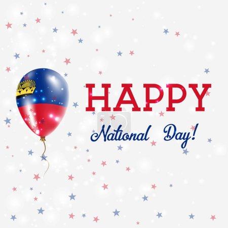 Liechtenstein National Day patriotic poster Flying Rubber Balloon in Colors of the Liechtensteiner