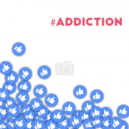 Illustration for #addiction. Social media icons in abstract shape background with scattered thumbs up. #addiction concept in curious vector illustration. - Royalty Free Image