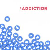 addiction Social media icons in abstract shape background with scattered thumbs up addiction