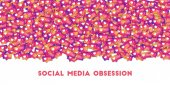 Social media obsession Social media icons in abstract shape background with gradient counter