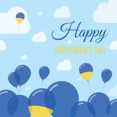Ukraine Independence Day Flat Patriotic Design Ukrainian Flag Balloons Happy National Day Vector