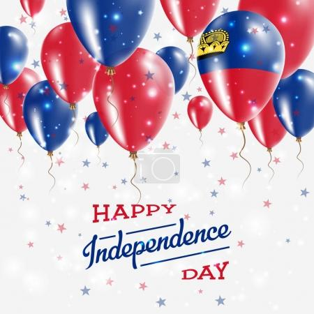Liechtenstein Vector Patriotic Poster Independence Day Placard with Bright Colorful Balloons of