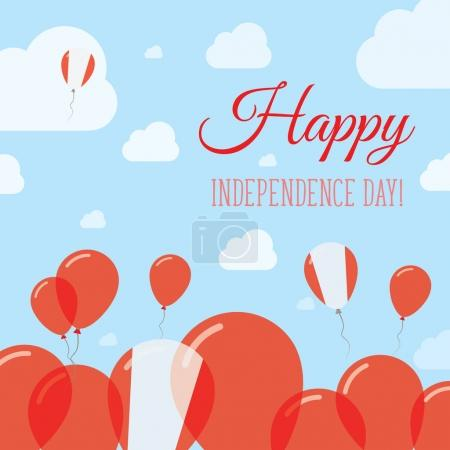 Peru Independence Day Flat Patriotic Design Peruvian Flag Balloons Happy National Day Vector Card
