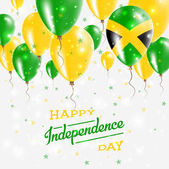 Jamaica Vector Patriotic Poster Independence Day Placard with Bright Colorful Balloons of Country