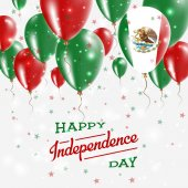 Mexico Vector Patriotic Poster Independence Day Placard with Bright Colorful Balloons of Country