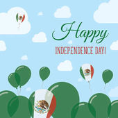 Mexico Independence Day Flat Patriotic Design Mexican Flag Balloons Happy National Day Vector