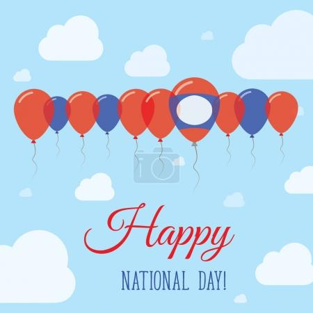 Lao Peoples Democratic Republic National Day Flat Patriotic Poster Row of Balloons in Colors of