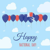 French Southern Territories National Day Flat Patriotic Poster Row of Balloons in Colors of the