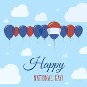 Bonaire Sint Eustatius and Saba National Day Flat Patriotic Poster Row of Balloons in Colors of the Dutch flag Happy National Day Card with Flags Balloons Clouds and Sky