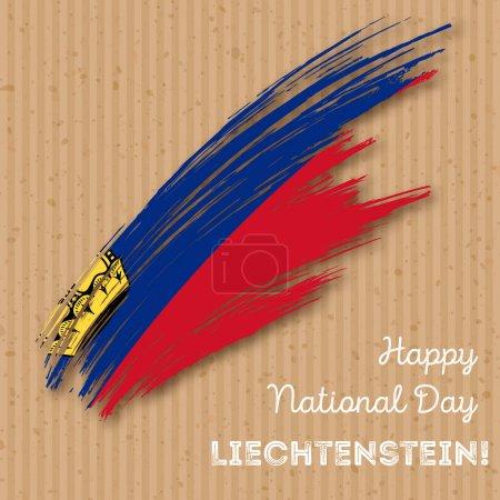 Liechtenstein Independence Day Patriotic Design Expressive Brush Stroke in National Flag Colors on