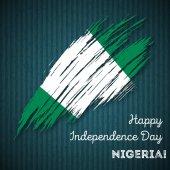 Nigeria Independence Day Patriotic Design Expressive Brush Stroke in National Flag Colors on dark