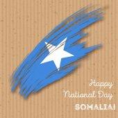 Somalia Independence Day Patriotic Design Expressive Brush Stroke in National Flag Colors on kraft