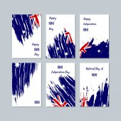 HIMI Patriotic Cards for National Day Expressive Brush Stroke in National Flag Colors on white card