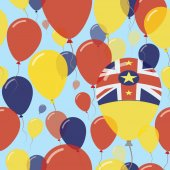 Niue National Day Flat Seamless Pattern Flying Celebration Balloons in Colors of Niuean Flag Happy