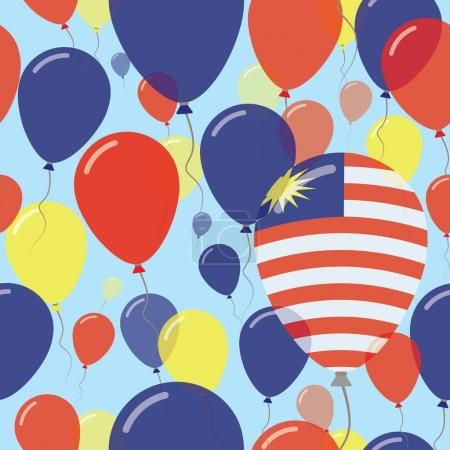Malaysia National Day Flat Seamless Pattern Flying Celebration Balloons in Colors of Malaysian
