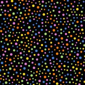 Colorful polka dots seamless pattern on black 2 background Radiant classic colorful polka dots textile pattern Seamless scattered confetti fall chaotic decor Abstract vector illustration