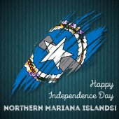 Northern Mariana Islands Independence Day Patriotic Design Expressive Brush Stroke in National Flag