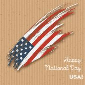 USA Independence Day Patriotic Design Expressive Brush Stroke in National Flag Colors on kraft