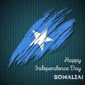 Somalia Independence Day Patriotic Design Expressive Brush Stroke in National Flag Colors on dark