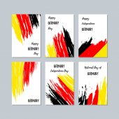 Germany Patriotic Cards for National Day Expressive Brush Stroke in National Flag Colors on white