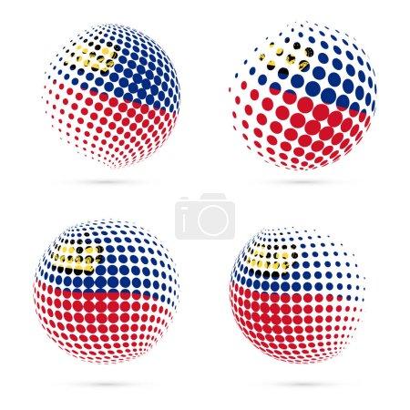 Liechtenstein halftone flag set patriotic vector design 3D halftone sphere in Liechtenstein