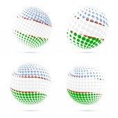 Uzbekistan halftone flag set patriotic vector design 3D halftone sphere in Uzbekistan national flag