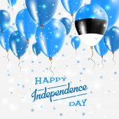 Estonia Vector Patriotic Poster Independence Day Placard with Bright Colorful Balloons of Country