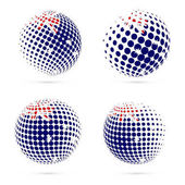 HIMI halftone flag set patriotic vector design 3D halftone sphere in HIMI national flag colors