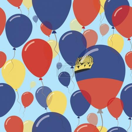 Liechtenstein National Day Flat Seamless Pattern Flying Celebration Balloons in Colors of