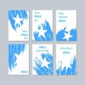 Somalia Patriotic Cards for National Day Expressive Brush Stroke in National Flag Colors on white