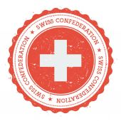 Grunge rubber stamp with Switzerland flag Vintage travel stamp with circular text stars and