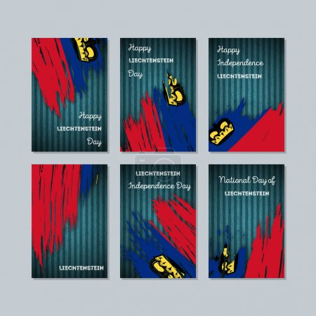 Liechtenstein Patriotic Cards for National Day Expressive Brush Stroke in National Flag Colors on