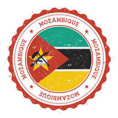 Grunge rubber stamp with Mozambique flag Vintage travel stamp with circular text stars and