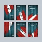 Latvia Patriotic Cards for National Day Expressive Brush Stroke in National Flag Colors on dark