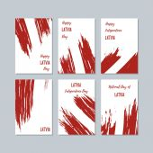 Latvia Patriotic Cards for National Day Expressive Brush Stroke in National Flag Colors on white