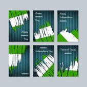 Nigeria Patriotic Cards for National Day Expressive Brush Stroke in National Flag Colors on dark