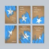 Somalia Patriotic Cards for National Day Expressive Brush Stroke in National Flag Colors on kraft