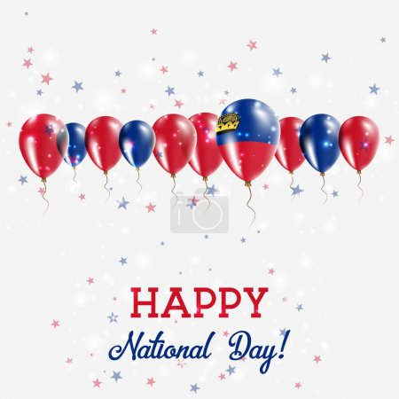 Liechtenstein Independence Day Sparkling Patriotic Poster Happy Independence Day Card with